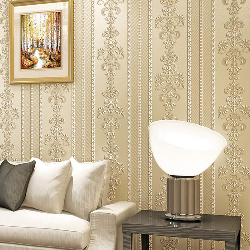 Luxury Damask Floral Vertical Striped Non-Woven Wallpaper Roll Papel De Parede European Style Wallpapers For Living Room Bedroom
