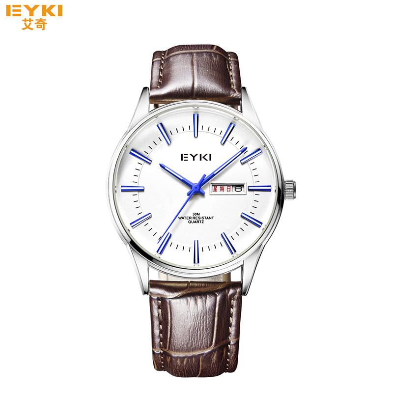 2017 New Eyki Top Luxury Men Brand Watches Leather Strap Mesh Bracelet Business Quartz Wrist Watch Thin Dial Relojes Hombre