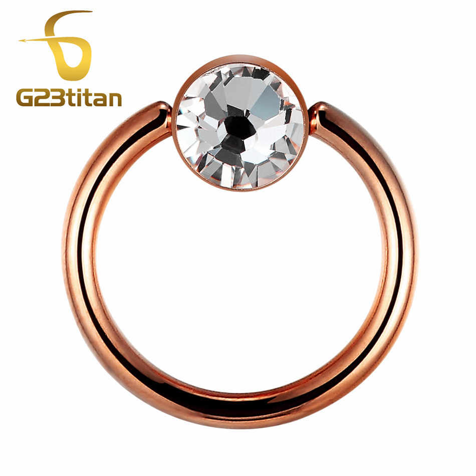 G23titan Rose Gold Rings for Ear Plugs Cartilage Tragus 16Gauge Ear Earrings Nose Septum Rings Powerful Body Piercong Jewelry