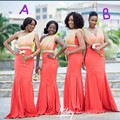 African Bridesmaid Dresses Mermaid Long Pleated Bridesmaid Gown Sequins Sash Women Cheap Bridesmaid Dress For Weddings 2016