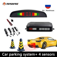 Car Parking Sensor Parktronic Display 4 Sensors Reverse Backup Assistance Radar Detector Auto Led Light Heart Monitor System(China)