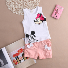 Baby Girl Summer Clothes Set Cartoon Mouse 2-4T