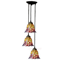 Japanese Rustic Rural Stained Glass Flower Three LED Hanging Pendant Lamp Light Restaurant Cafe Dining Room Chandelier Lighting