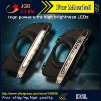 Free shipping ! 12V 6000k LED DRL Daytime running light for Mazda6 Mazda 6 2011 2013 fog lamp frame Fog light Car styling
