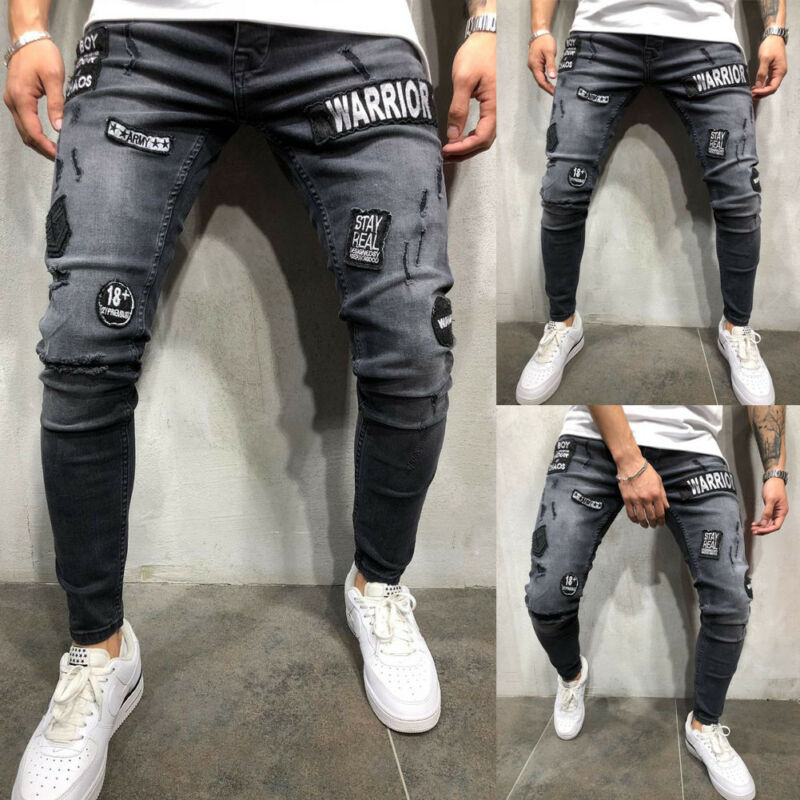 Hot Sale Autumn Winter Mens Mid High Waist Stretch Fashion Slim Fit Ripped Skinny Stretch Biker Zip Jeans Pencil Pant Trousers
