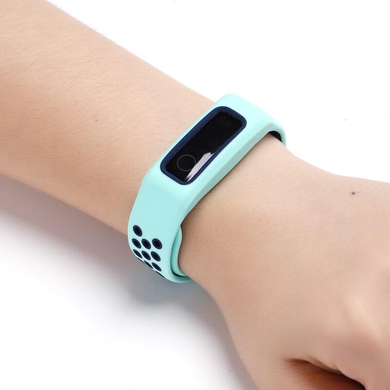 Twee Kleuren Zachte Siliconen Armband Voor Honor Band 5 Sport/Honor Band 4 Running/Huawei Band 3e 4e Band Poreuze Ventilatie