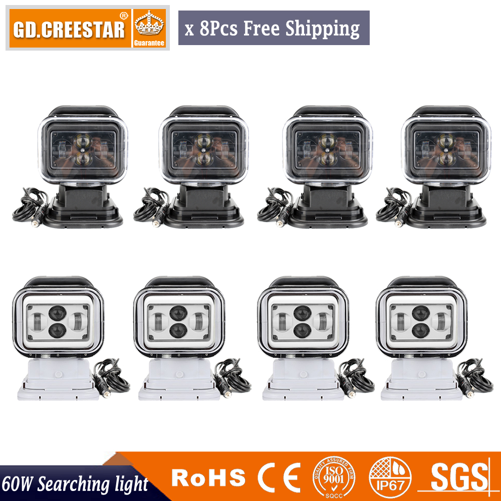 60Watts 7inch Led Remote Control Search Light 12v 24v w/Magnetic Base Spot led camping fishing Wireless spotlight x8pcs