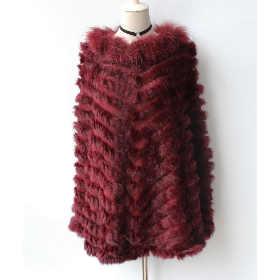 maylooks Knit knited rabbit fur Shawl poncho stole shrug cape robe tippet amice wrap raccoon fur collar HN139