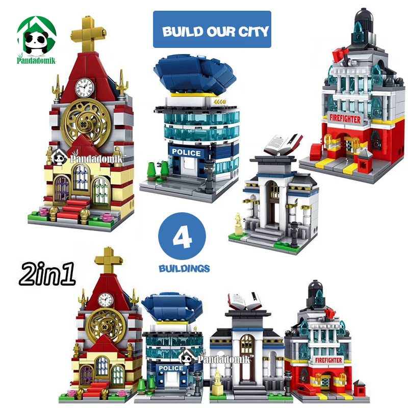 Kazi City Architecture 4 Set Mini Street 2in1 House Buildings Blocks Figures Educational Toys for Children Compatible lepin 12pcs set children kids toys gift mini figures toys little pet animal cat dog lps action figures