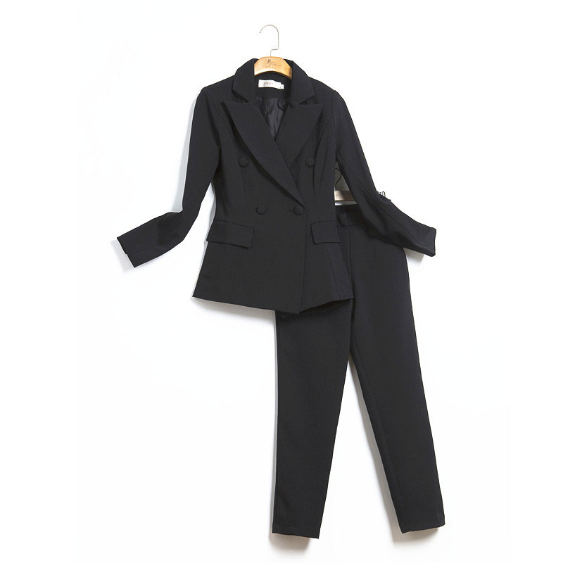 Set female 2019 spring new slim small suit trousers two sets of temperament wild fashion solid color elegant women's clothes