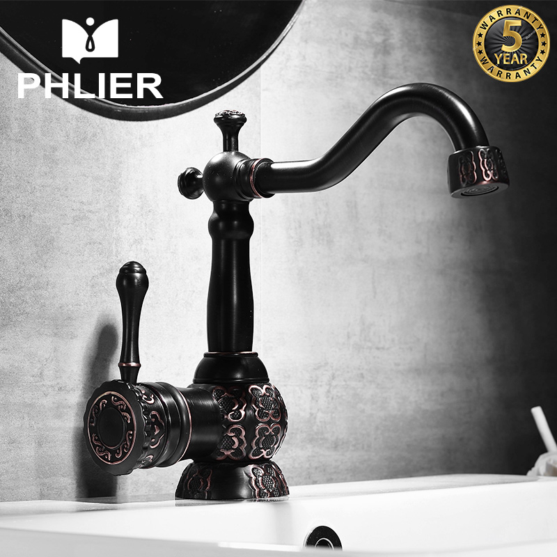 PHLIER Gold Bathroom Sink Faucets Vanity Bathroom Water Tap Single Handle Long Spout 360 Rotation Sink Mixer China Sanitary Ware china sanitary ware chrome wall mount thermostatic water tap water saver thermostatic shower faucet