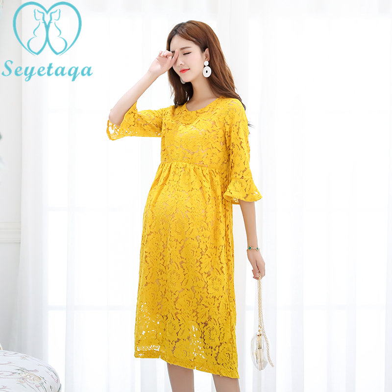 2275# Elegant Lace Maternity Party Long Dress Baby Shower Charming Clothes for Pregnant Women Autumn Summer Pregnancy Clothing charming high waist yellow lace dress for women