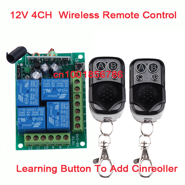 12V 4CH 1 Receiver & 2Transmitter Wireless remote control switch Working way is adjustable 200M for garage door / window /lamp 200m 4ch 4relay 12v wireless remote control switch system1 receiver