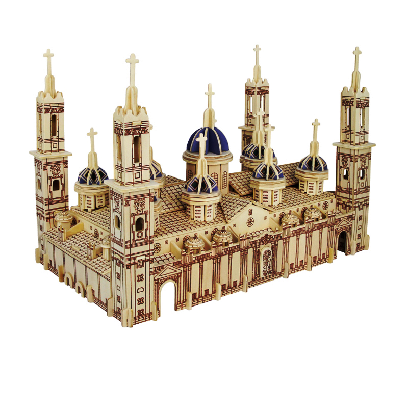 лучшая цена A Kids Toy Of 3d Wooden Puzzle Children's And Adult Model The Pilar Basilica The Famous Building Series A Best Gift For Kids