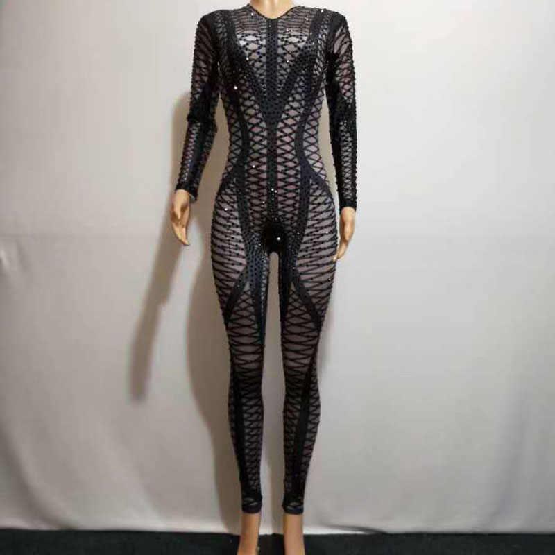2020 Sexy Strass Body Bühne einteiliges Outfit Sängerin Schwarz Legging Nachtclub Nude Kristalle Kostüm Dance Overall