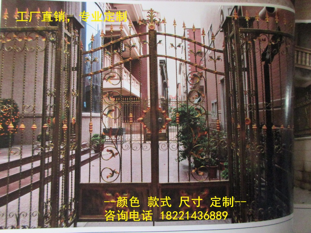 Custom Made Wrought Iron Gates Designs Whole Sale Wrought Iron Gates Metal Gates Steel Gates Hc-g44