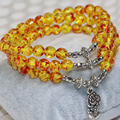 Free shipping fashion factory price multilayer bracelets yellow popcorn resin synthetic amber 6mm round beads jewelry B2248