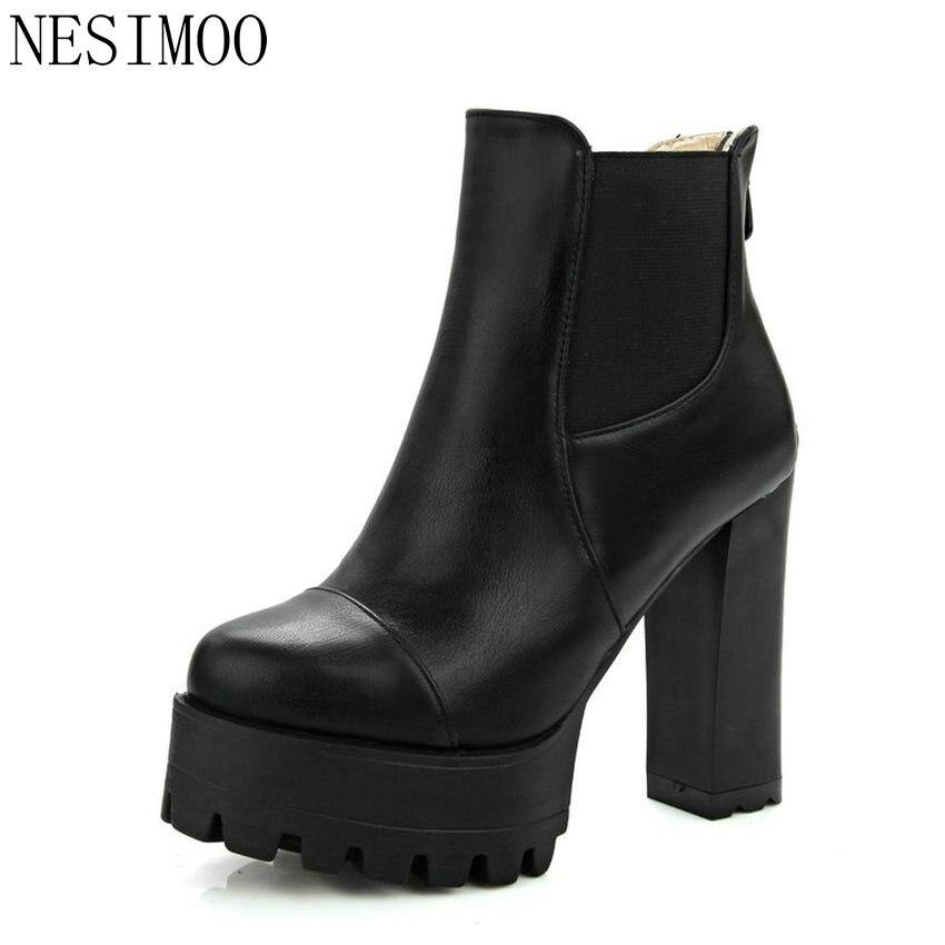 Nesimoo Размеры 34–43 мода молния 2017 круглый носок женская обувь из искусственной кожи ботильоны на высоком квадратном каблуке женские мотоциклетные ботинки
