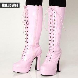 """Image 5 - Jialuowei kobiety 5 """"gruby obcas platforma PU skóra zasznurować kolana wysoka jednolita zamek buty egzotyczne, fetysz, Sexy, buty"""
