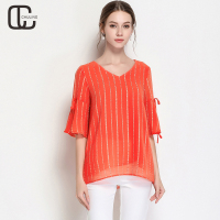 Summer Women's Orange Chiffon Stripes V Neck Casual Flare sleeve Bow Elegant Blouse Female Plus Size Shirts 2018 Lady Tops M 5XL