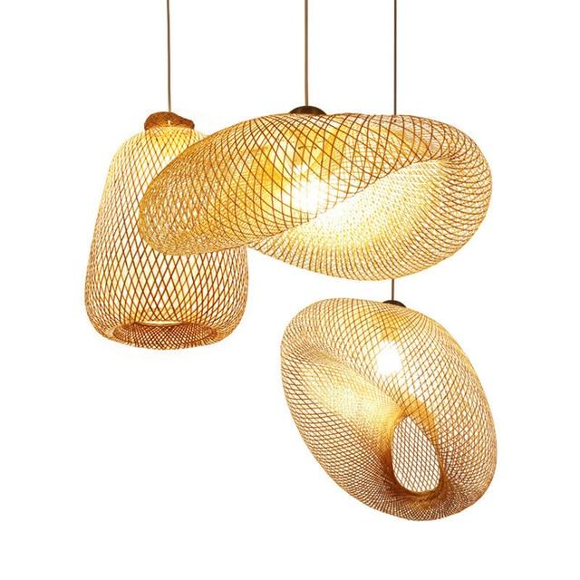 במבוק LED E27 נצרים קש גל צל תליון אור בציר יפני מנורת השעיה בית מקורה אוכל שולחן חדר תאורה