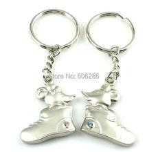 Freies verschiffen 400 Stücke = 200 paare/los 141 Mäuse in schuh Metall Paar Schlüsselanhänger Zink-legierung Liebe Schlüsselanhänger Ring Partei Liefert