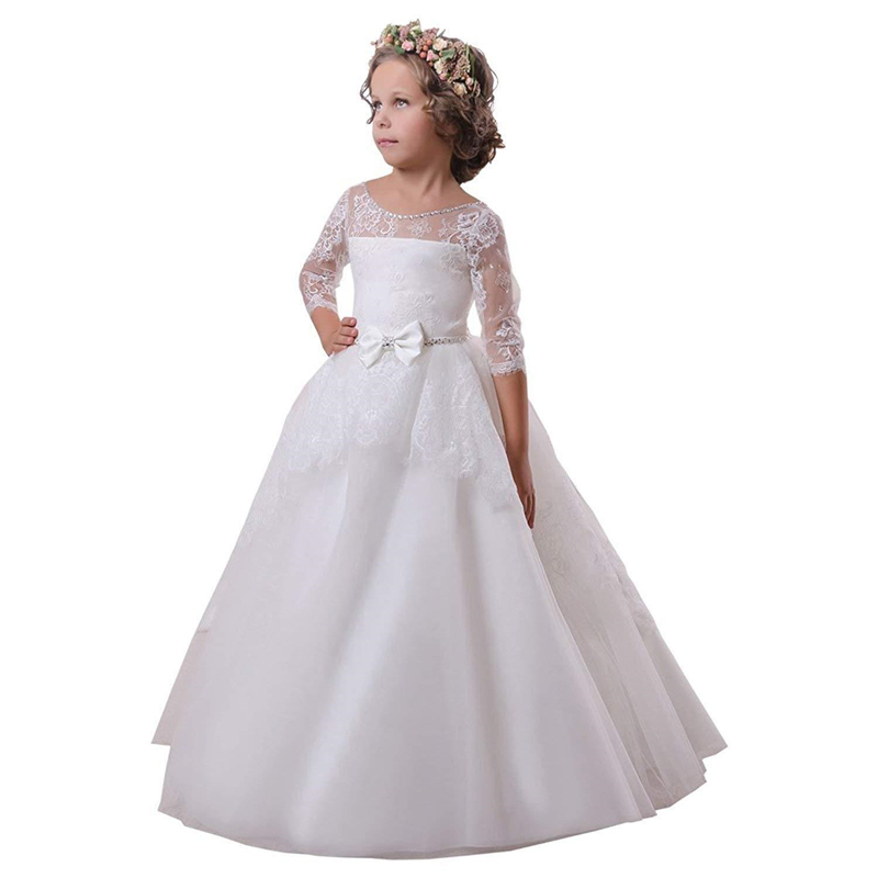 white Lace appliqué Long sleeve Flower Girls Dresses For Sash Bow Girl Birthday Party Dress Tulle Pageant Dress