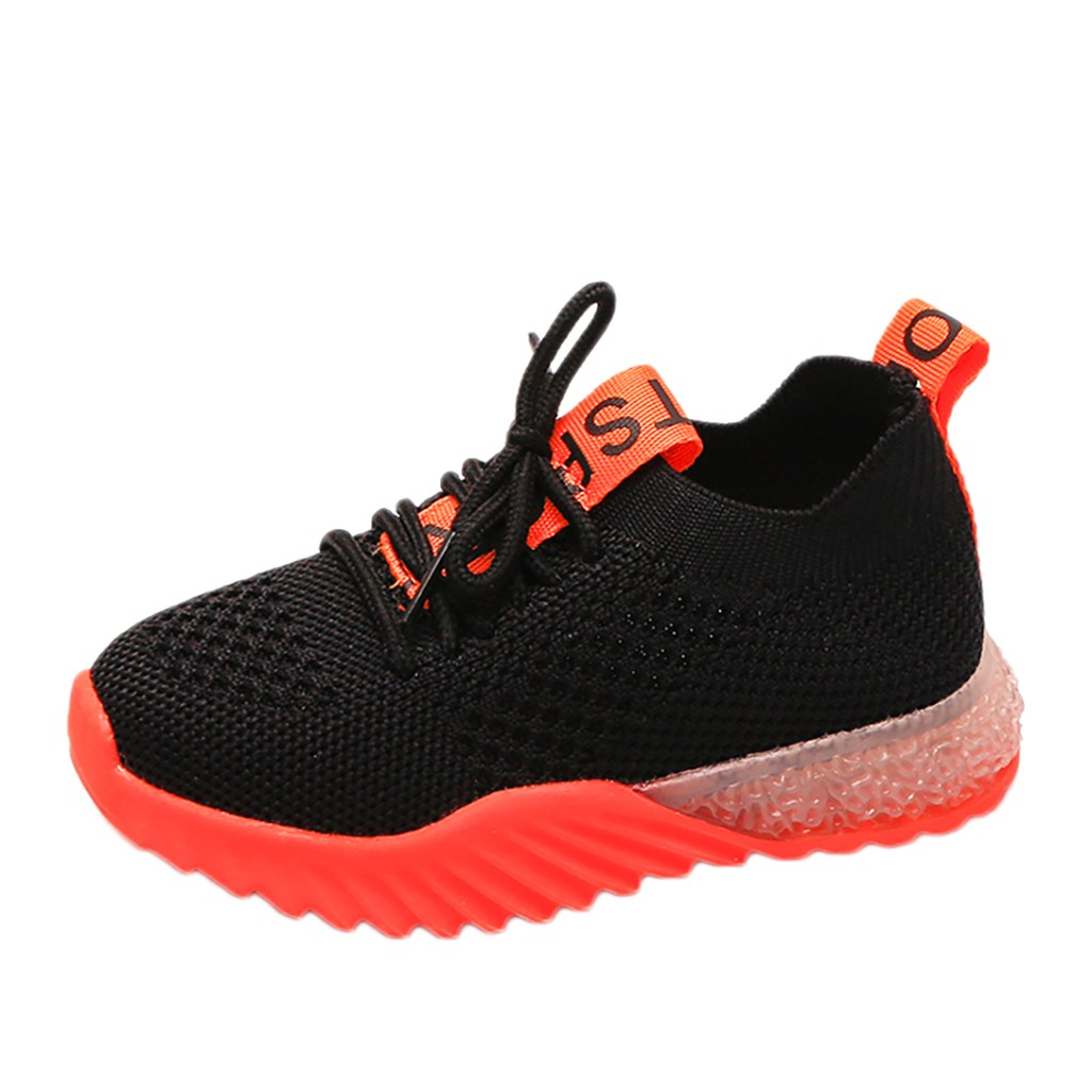 Sneakers Shoes Baby-Girls Boys Mesh Letter Sport Children Casual Flat Led Sole Los Zapatos