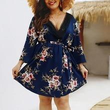 2019 Women Summer Sundress Boho Style Floral Print women lace Beach Dress  Tunic dress Loose Mini da5a1dd948df
