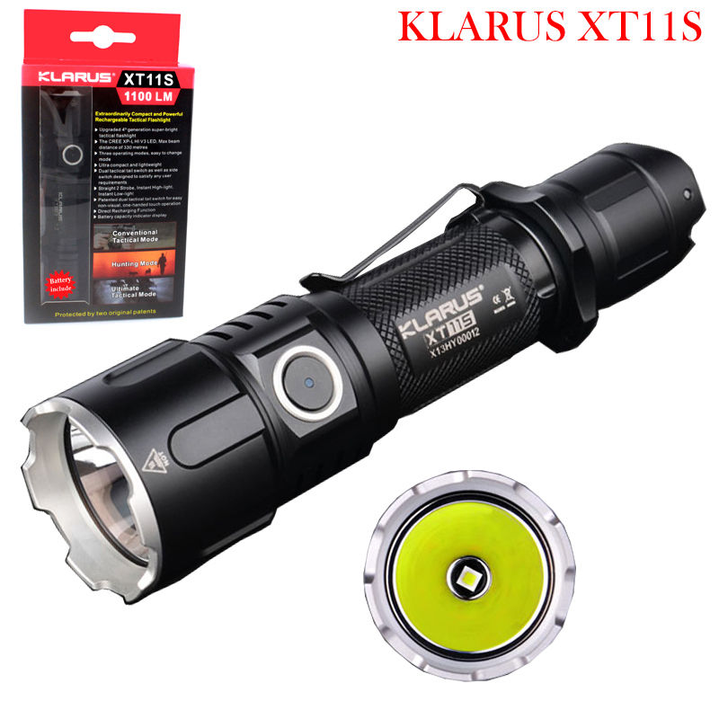 Original KLARUS XT11S CREE XP-L HI V3 LED 1100 Lumens USB Rechargeable Tactical Flashlight with 2600 mAh 18650 Battery new klarus xt11gt cree xhp35 hi d4 led 2000 lm 4 mode tactical led flashlight free usb port and 18650 battey for self defence