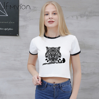 Black Gothic Owl Bird Print T Shirt Women Summer Short Sleeve O Neck Tops Basic Cool