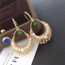 hot deal buy real freshwater pearl earrings for women,925 sterling silver retro lace pearl earrings fine white pearl earrings jewelry