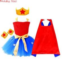 f5f91a04a3 Super Girl Hero Costume Baby Girl Tutu Dress Red&Royal Blue Popular  Christmas Dress Halloween Birthday Party Kids Girl Dress