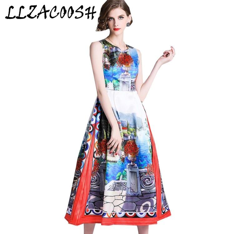 cb2e6da0298cfa2 Высокое качество роскошное подиумное Платье Лето 2019 г. модные  дизайнерские женские цветочный принт без рукавов