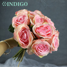 INDIGO- Promotion 15pcs Pink Rose Bouquet Table Flower Tea Bride Wedding Home Decoration Free Shipping