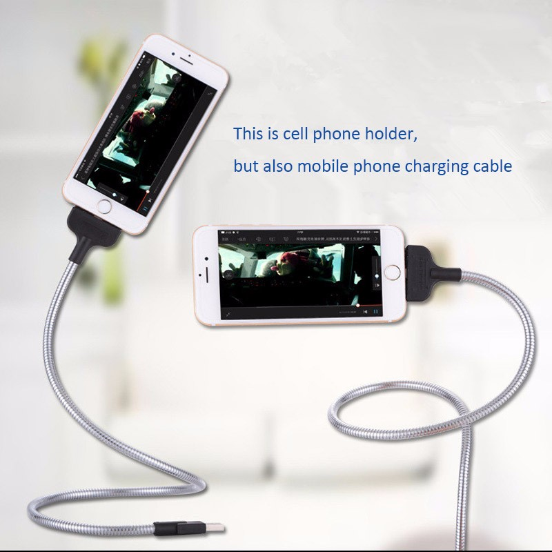 official photos df90c f3ae0 US $4.29 |Lazy Bracket Charging Cable Anti Fracture Car Dock Flexible Stand  Up Phone Data Cable +Coiled Holder in One for Iphone Android -in Mobile ...