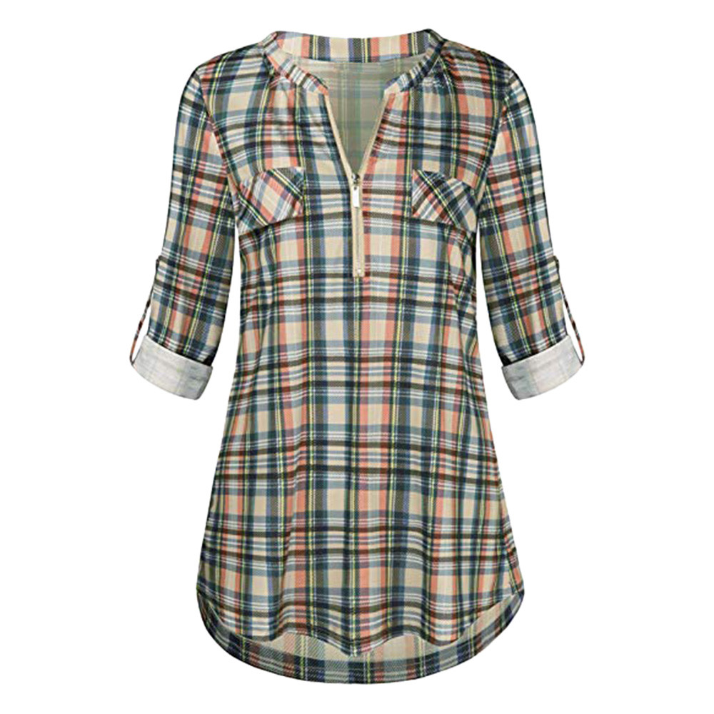 JAYCOSIN  Womens Casual Rolled Sleeve Zipped V-Neck Plaid Printed Shirt Tunic Tops Blouse Womens Blouses New Arrival 2019