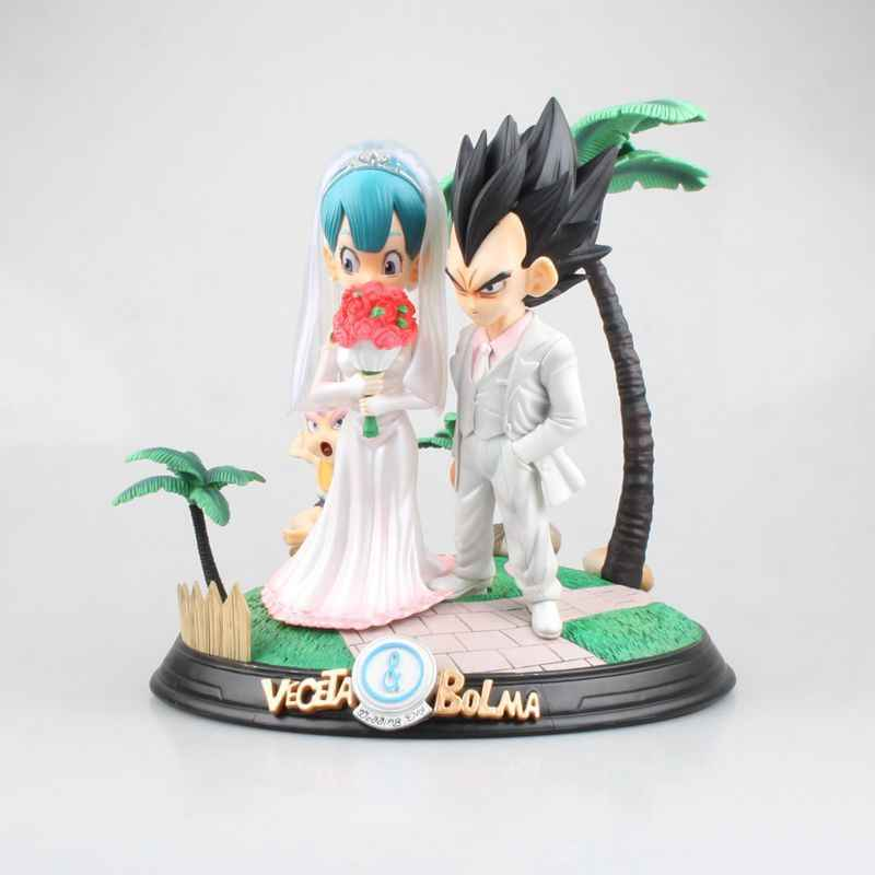 Anime 25 CENTÍMETROS Dragon Ball Vegeta & Bulma/Son Goku & Dia Do Casamento Chichi PVC Figura Collectible Toy Modelo presente