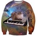 Женщины / мужчины 3d толстовка кот галактик космических пианино хип-хоп harajuku толстовки добычу костюмы