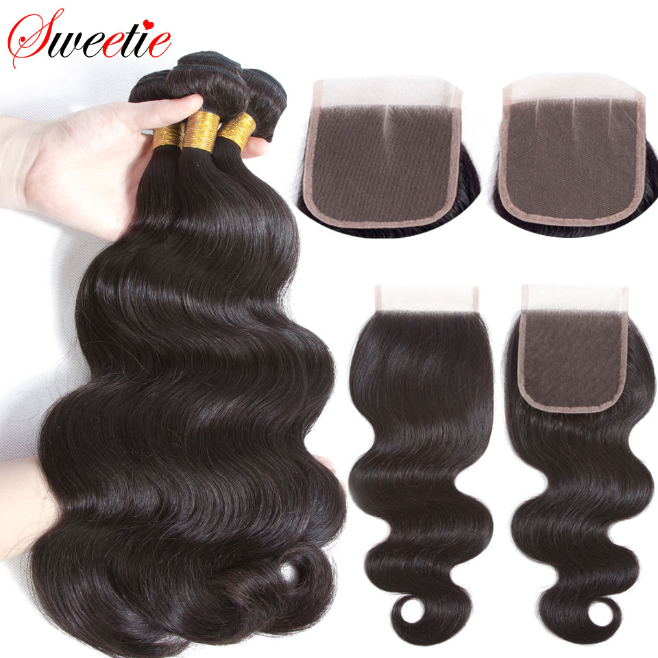 Sweetie Hair Malaysian Body Wave Bundles With Closure 4x4 Lace Closure With Bundles Human Hair Bundles