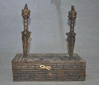 christmas Tibet Wood Bronze double Mahakala Wrathful Buddha Dorje Vajra Phurba Dagger Box halloween