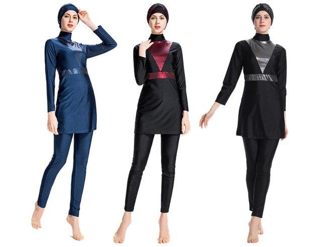 ab5bf59d19672 2018 new Women Printed Floral Modest Muslim Swimwear Hijab Muslimah Islamic  Swimsuit Sport Clothing Plus Size Burkinis S-4XL