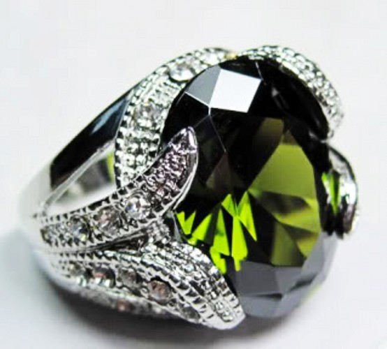 Fashion Jewelry Mens 10KT Gold Filled Peridot Ring size 891011