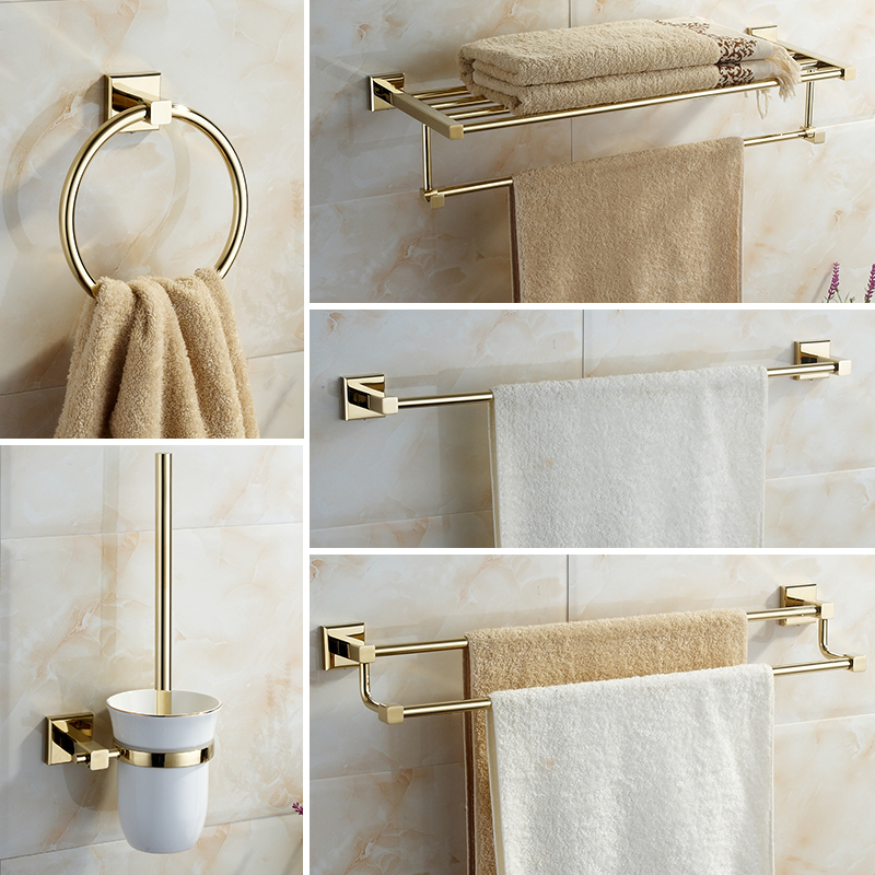 gold style Bathroom Accessories Towel Bar Paper Holder Toothbrush Holder Bath Towel ring Bathroom hardware set
