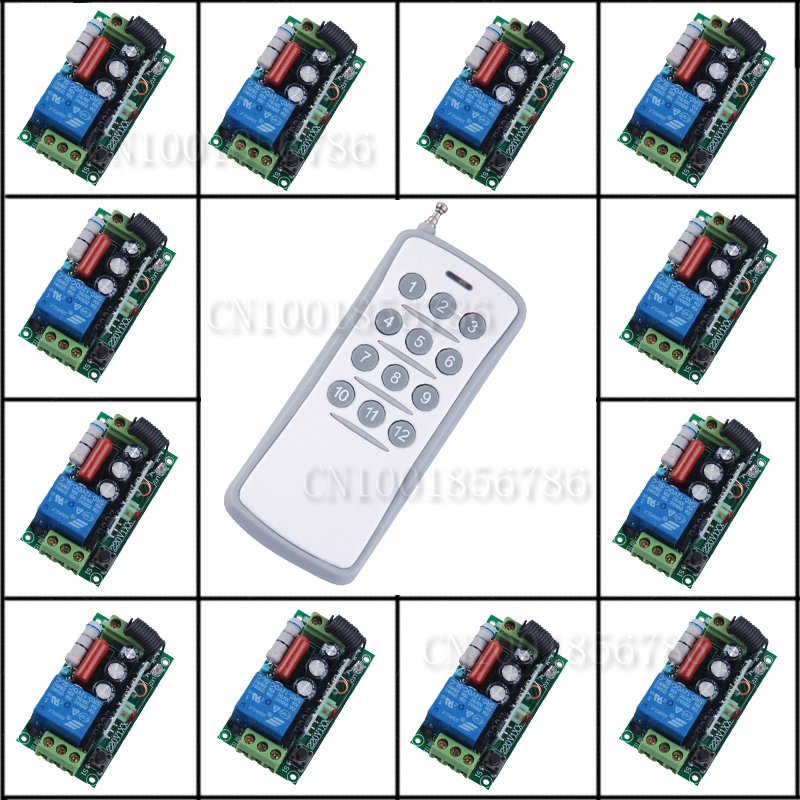 220V 1CH RF Wireless Remote Control Switch Light Lamp LED ON OFF 12Receivers Learning Code Output Adjusted Free Shipping free shipping light lamp led bulb household appliances industrial equipment power remote on off smart home learning code ask