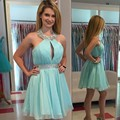 Light Blue Beaded Jewel Neckcline Short Chiffon Homecoming Dress 2016 New Vestido De Formatura Curto