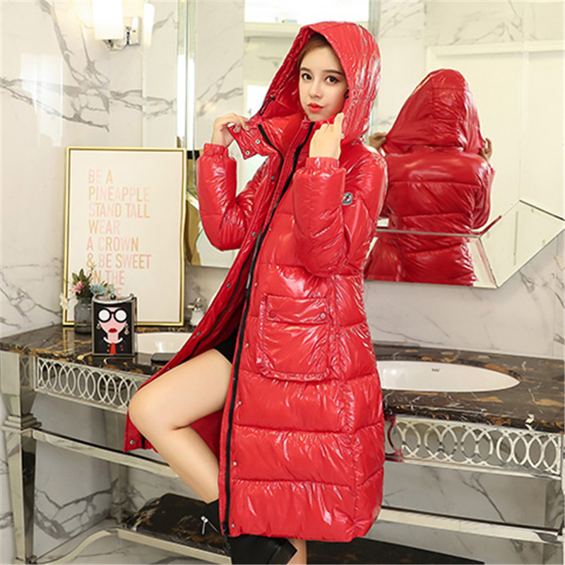 Women Jacket New Hooded parka 2018 Winter Female Long Jacket fashion Glossy Solid color Coat lady Winter Warm Outerwear NO481