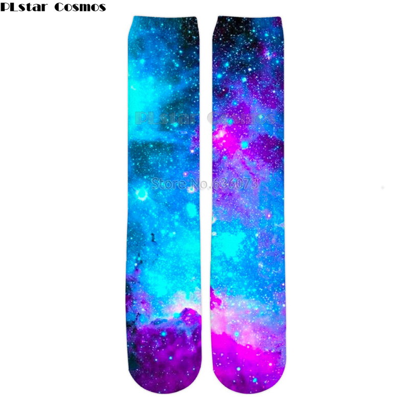 PLstar Cosmos 2019 New Fashion Mens 3d Socks Galaxy Space Colorful nebula Printed Men/Women Casual Straight socks 1