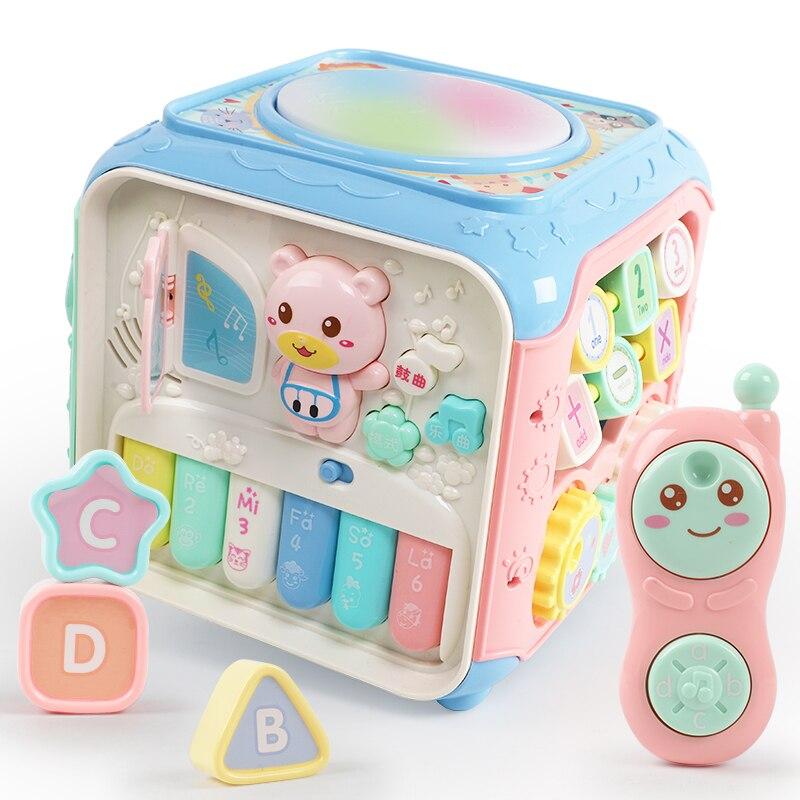 Cube d'activités pour bébé jouets musicaux horloge pour bébé les tout-petits apprennent les compétences cognitives et motrices jouets éducatifs Cube 13-24 mois