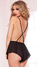 Black Lace One-Piece Underwear Sleepwear Nightwear